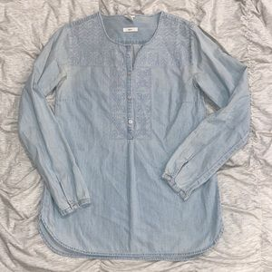 Denim tunic with embroidery detail